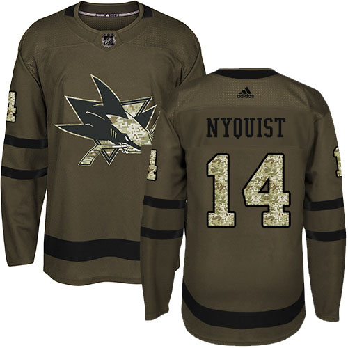 Men's Adidas San Jose Sharks #14 Gustav Nyquist Green Salute To Service Stitched NHL Jersey