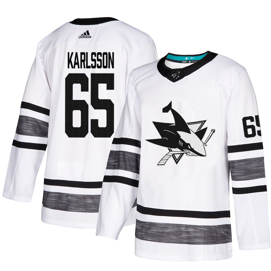 Youth Adidas San Jose Sharks #65 Erik Karlsson White Authentic 2019 All-Star Stitched NHL Jersey