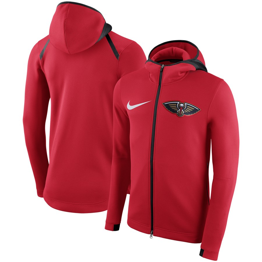 Men's New Orleans Pelicans Nike Showtime Therma Flex Performance Full-Zip Hoodie Red