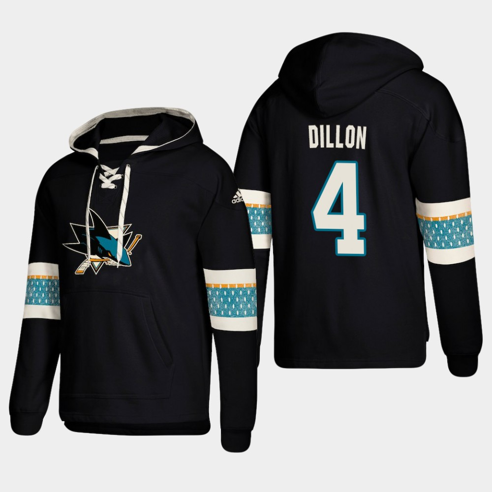 Men's San Jose Sharks #4 Brenden Dillon Black adidas Lace-Up Pullover Hoodie