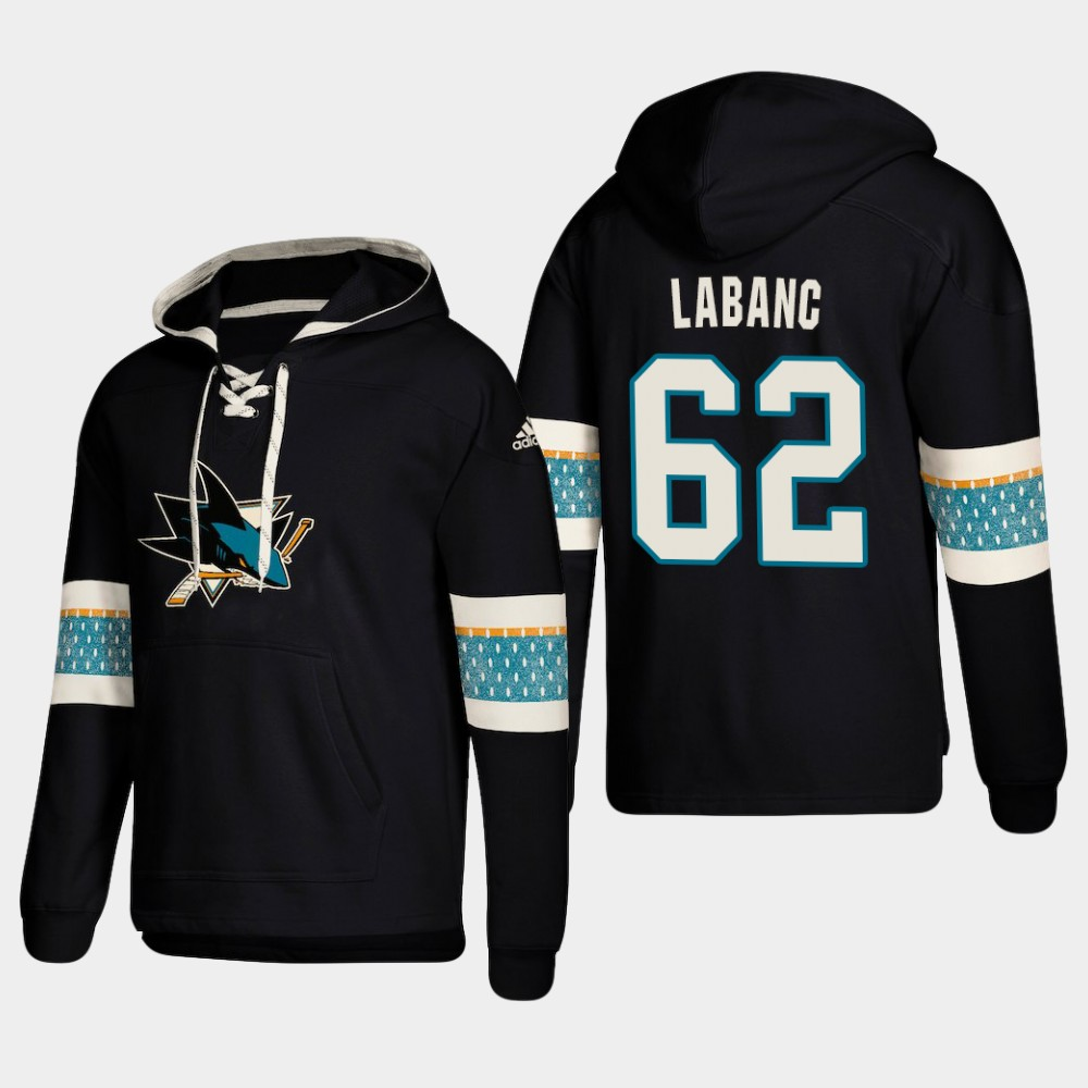 Men's San Jose Sharks #62 Kevin Labanc Black adidas Lace-Up Pullover Hoodie