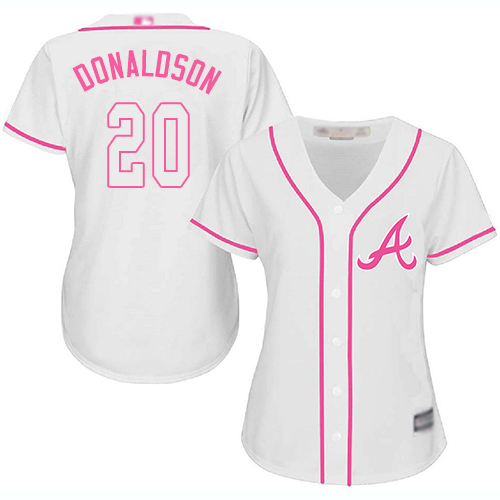 Women's Atlanta Braves #20 Josh Donaldson White Pink Fashion Stitched Baseball Jersey