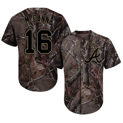 Youth Atlanta Braves #16 Brian McCann Camo Realtree Collection Cool Base Stitched Baseball Jersey