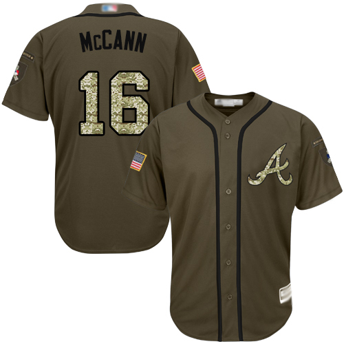 Youth Atlanta Braves #16 Brian McCann Green Salute to Service Stitched Baseball Jersey