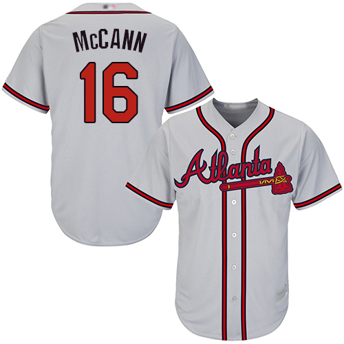 Youth Atlanta Braves #16 Brian McCann Grey Cool Base Stitched Baseball Jersey