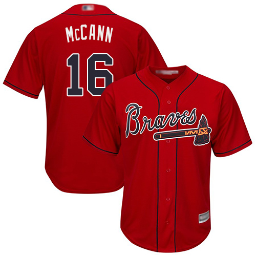 Youth Atlanta Braves #16 Brian McCann Red Cool Base Stitched Baseball Jersey