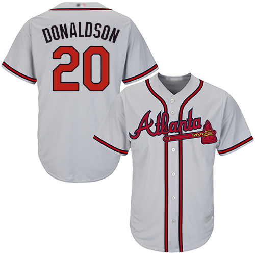 Youth Atlanta Braves #20 Josh Donaldson Grey Cool Base Stitched Baseball Jersey