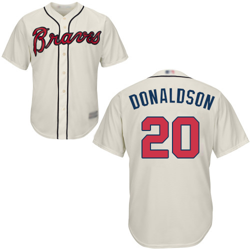 Youth Atlanta Braves #20 Josh Donaldson Cream Cool Base Stitched Baseball Jersey