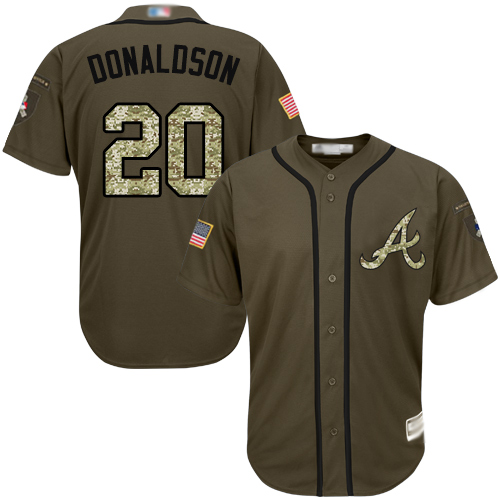 Youth Atlanta Braves #20 Josh Donaldson Green Salute to Service Stitched Baseball Jersey