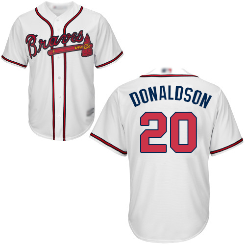 Youth Atlanta Braves #20 Josh Donaldson White Cool Base Stitched Baseball Jersey