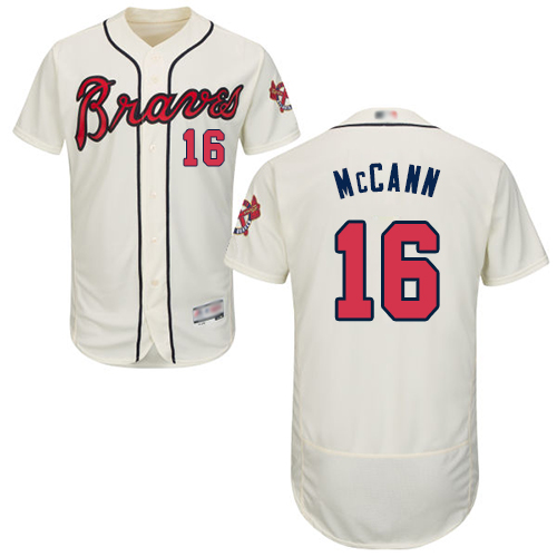 Men's Atlanta Braves #16 Brian McCann Cream Flexbase Authentic Collection Stitched Baseball Jersey