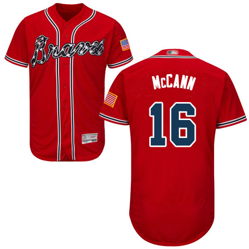 Men's Atlanta Braves #16 Brian McCann Red Flexbase Authentic Collection Stitched Baseball Jersey