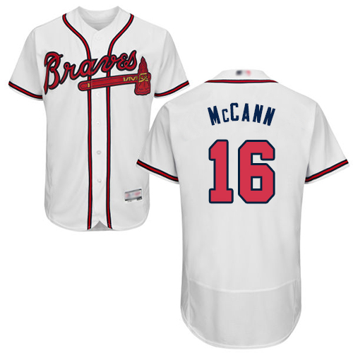 Men's Atlanta Braves #16 Brian McCann White Flexbase Authentic Collection Stitched Baseball Jersey