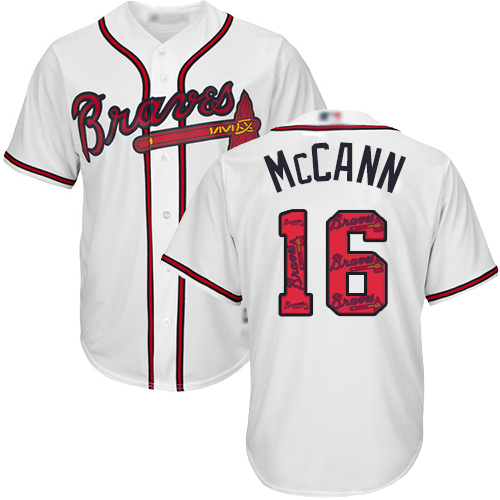 Men's Atlanta Braves #16 Brian McCann White Team Logo Fashion Stitched Baseball Jersey