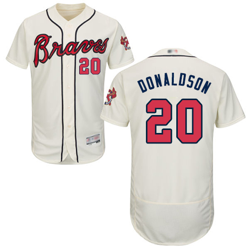 Men's Atlanta Braves #20 Josh Donaldson Cream Flexbase Authentic Collection Stitched Baseball Jersey