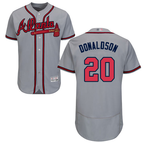 Men's Atlanta Braves #20 Josh Donaldson Grey Flexbase Authentic Collection Stitched Baseball Jersey