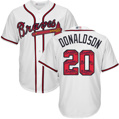 Men's Atlanta Braves #20 Josh Donaldson White Team Logo Fashion Stitched Baseball Jersey