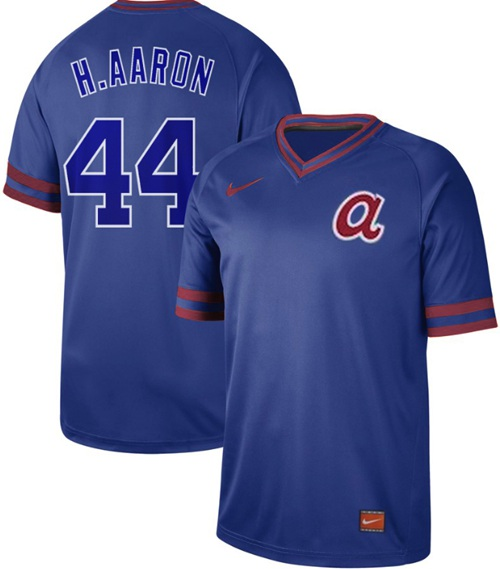 Men's Atlanta Braves #44 Hank Aaron Royal Authentic Cooperstown Collection Stitched Baseball Jersey