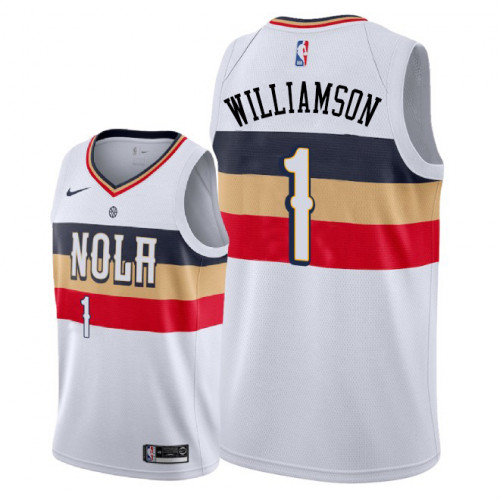Men's Nike New Orleans Pelicans #1 Zion Williamson White NBA Swingman Earned Edition Jersey