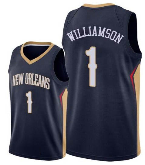 Men's Nike New Orleans Pelicans #1 Zion Williamson Navy NBA Swingman Icon Edition Jersey