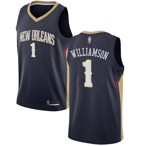 Nike New Orleans Pelicans #1 Zion Williamson Navy NBA Swingman Icon Edition Jersey