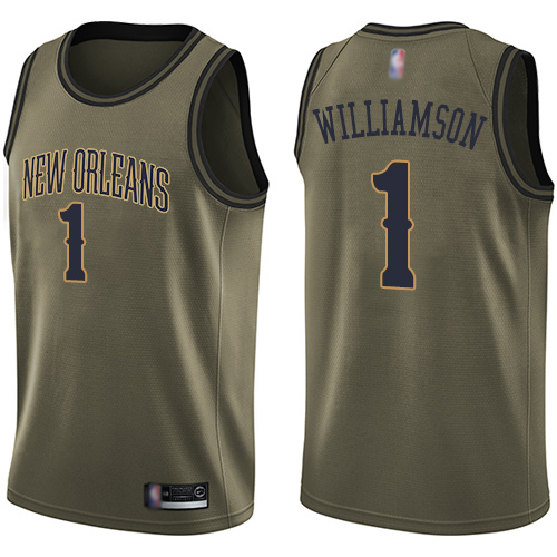 Nike New Orleans Pelicans #1 Zion Williamson Green NBA Swingman Salute to Service Jersey