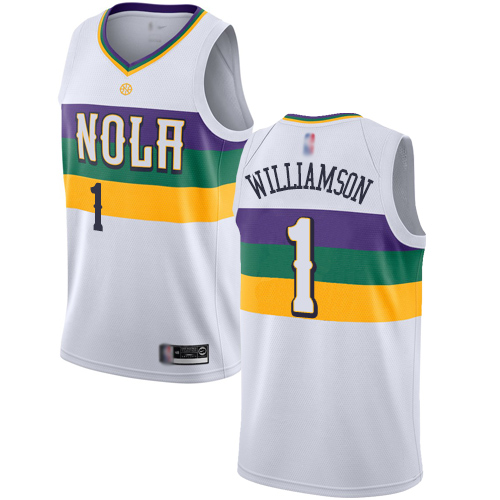 Women's Nike New Orleans Pelicans #1 Zion Williamson White NBA Swingman City Edition 2018-19 Jersey