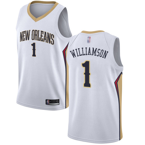 Women's Nike New Orleans Pelicans #1 Zion Williamson White NBA Swingman Association Edition Jersey