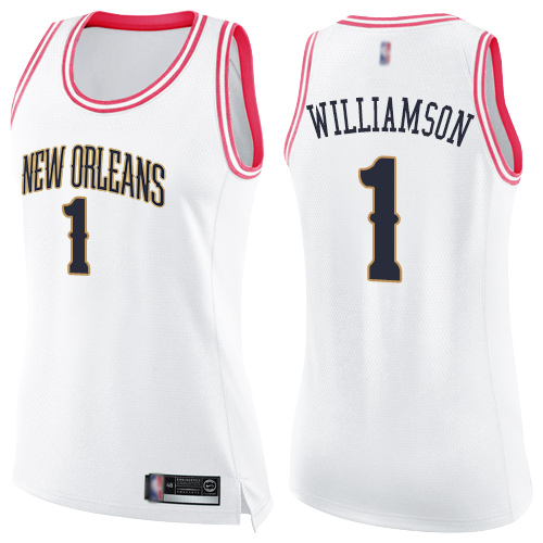 Women's Nike New Orleans Pelicans #1 Zion Williamson White Pink NBA Swingman Fashion Jersey