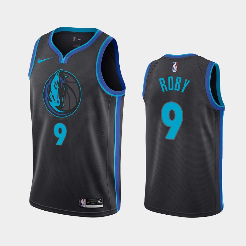 Men's Dallas Mavericks #9 Isaiah Roby City Edition Anthracite 2019 Draft Jersey