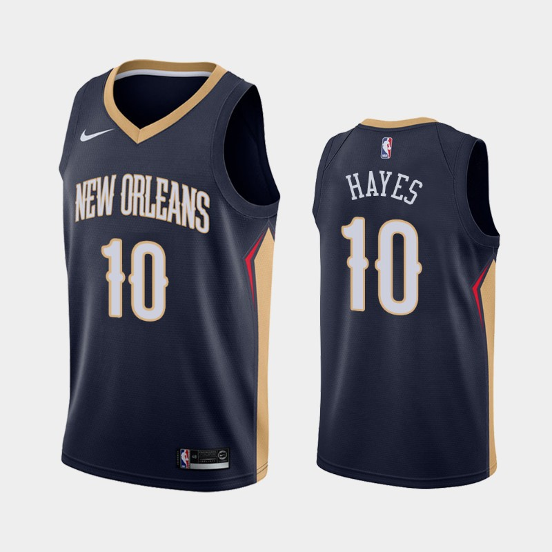 Men's Nike New Orleans Pelicans #10 Jaxson Hayes Swingman Navy Blue NBA Icon Edition Jersey