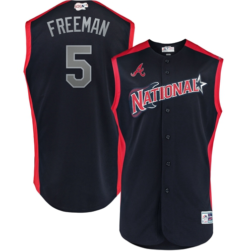 Men's Atlanta Braves #5 Freddie Freeman Navy 2019 All-Star National League Stitched Baseball Jersey