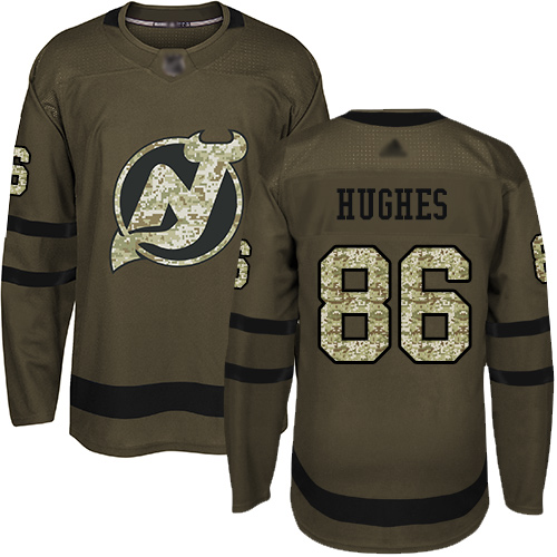Men's Adidas New Jersey Devils #86 Jack Hughes Green Salute to Service Stitched NHL Jersey