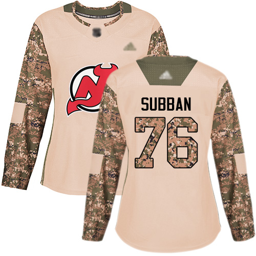 Women's Adidas New Jersey Devils #76 P. K. Subban Camo Authentic 2017 Veterans Day Stitched NHL Jersey