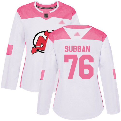 Women's Adidas New Jersey Devils #76 P. K. Subban White Pink Authentic Fashion Stitched NHL Jersey
