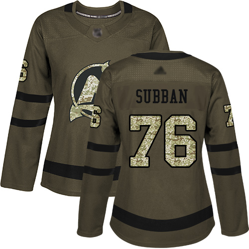 Women's Adidas New Jersey Devils #76 P. K. Subban Green Salute to Service Stitched NHL Jersey