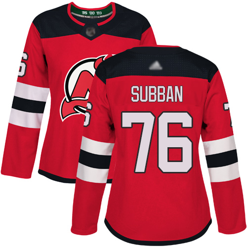 Women's Adidas New Jersey Devils #76 P. K. Subban Red Home Authentic Stitched NHL Jersey