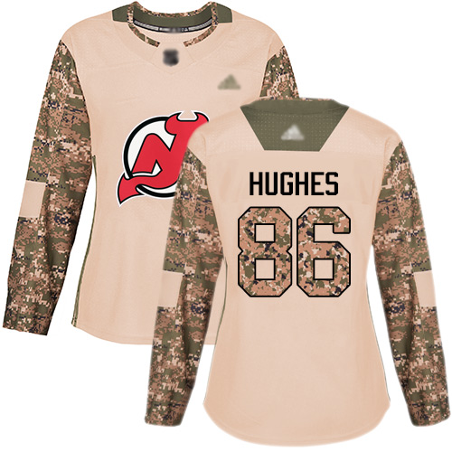 Women's Adidas New Jersey Devils #86 Jack Hughes Camo Authentic 2017 Veterans Day Stitched NHL Jersey