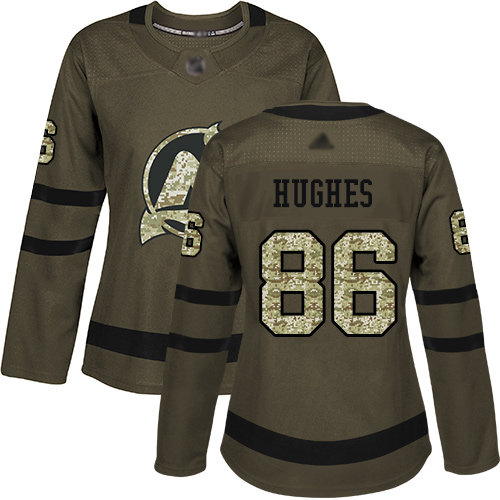 Women's Adidas New Jersey Devils #86 Jack Hughes Green Salute to Service Stitched NHL Jersey
