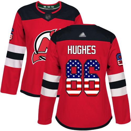 Women's Adidas New Jersey Devils #86 Jack Hughes Red Home Authentic USA Flag Stitched NHL Jersey