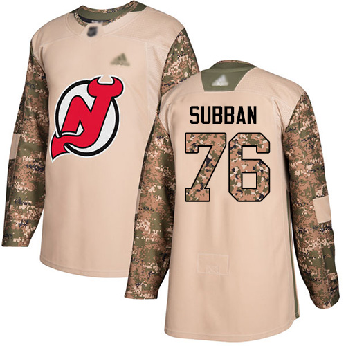 Youth Adidas New Jersey Devils #76 P. K. Subban Camo Authentic 2017 Veterans Day Stitched NHL Jersey