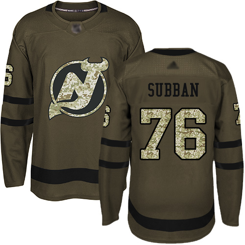 Youth Adidas New Jersey Devils #76 P. K. Subban Green Salute to Service Stitched NHL Jersey