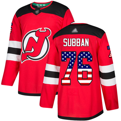 Youth Adidas New Jersey Devils #76 P. K. Subban Red Home Authentic USA Flag Stitched NHL Jersey