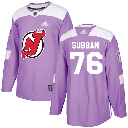 Youth Adidas New Jersey Devils #76 P. K. Subban Purple Authentic Fights Cancer Stitched NHL Jersey