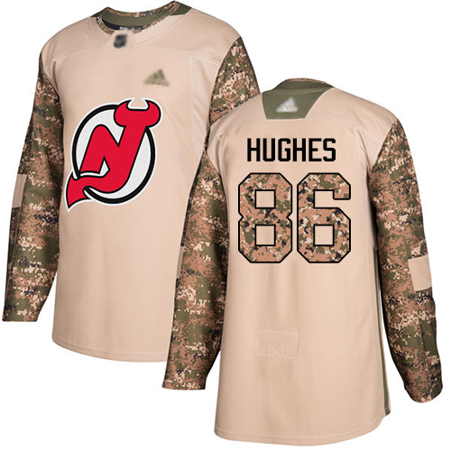 Youth Adidas New Jersey Devils #86 Jack Hughes Camo Authentic 2017 Veterans Day Stitched NHL Jersey