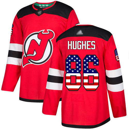 Youth Adidas New Jersey Devils #86 Jack Hughes Red Home Authentic USA Flag Stitched NHL Jersey