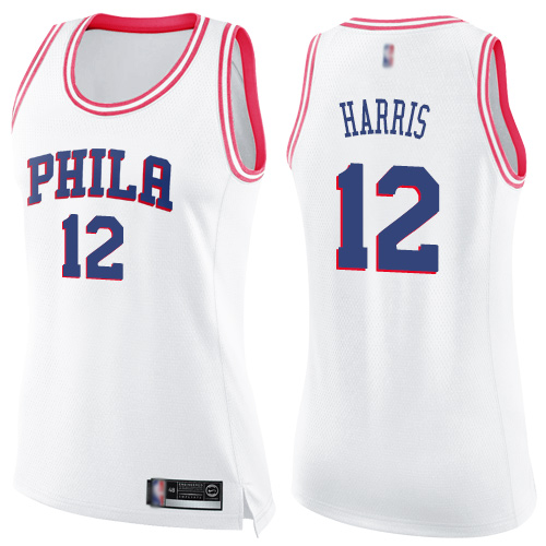 Women's Nike Philadelphia 76ers #12 Tobias Harris White-Pink NBA Swingman Fashion Jersey