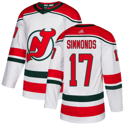 Men's Adidas New Jersey Devils #17 Wayne Simmonds White Alternate Authentic Stitched NHL Jersey