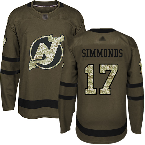 Men's Adidas New Jersey Devils #17 Wayne Simmonds Green Salute to Service Stitched NHL Jersey