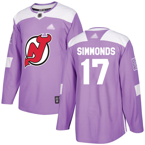Men's Adidas New Jersey Devils #17 Wayne Simmonds Purple Authentic Fights Cancer Stitched NHL Jersey